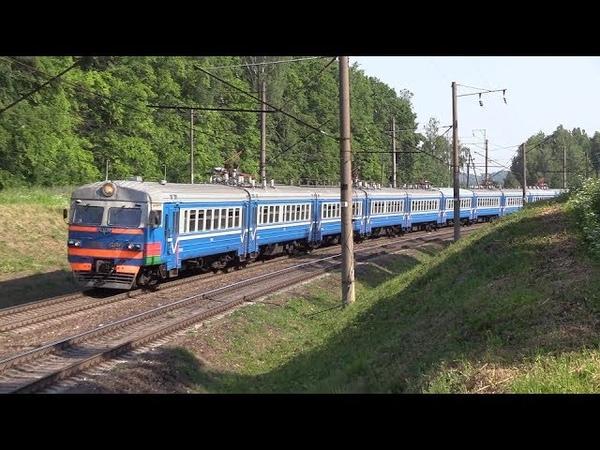 Электропоезда ЭПр 007 и ЭР9Е 605 близ о п Птичь EPr 007 and ER9E 605 EMU's at Ptich stop