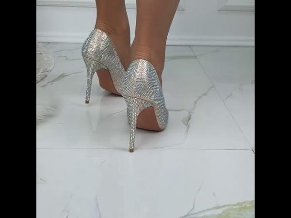 Туфли лодочки 👠 на шпильке в стразах🔺 Цвет:золото/серебро🔺Modnica-shop