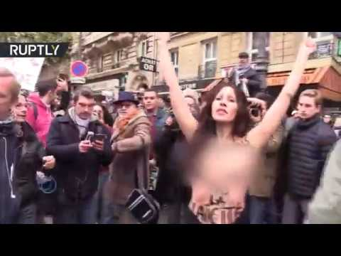 Topless FEMEN protester descend on anti-Islamophobia rally in Paris