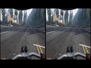 Virtual Reality. GTA. Bike riders 3D VR SBS