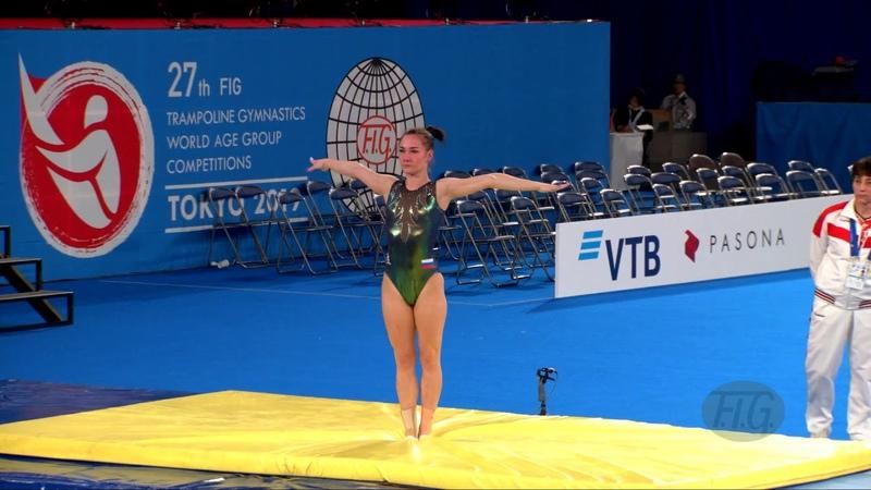 DANILENKO Viktoriia RUS W 2019 Trampoline Worlds Tokyo JPN Qualification Tumbling R2