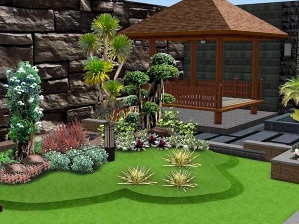 Tukang Taman Surabaya - Desain Taman halaman samping kombinasi tempat santai yang menakjubkan