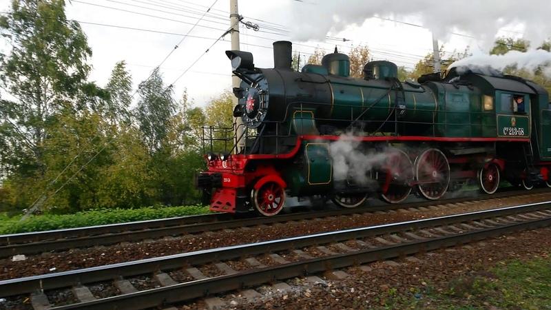 Паровозы Су213-58 и П36-0120 возвращаются из Монино в Москву. 22.09.2019