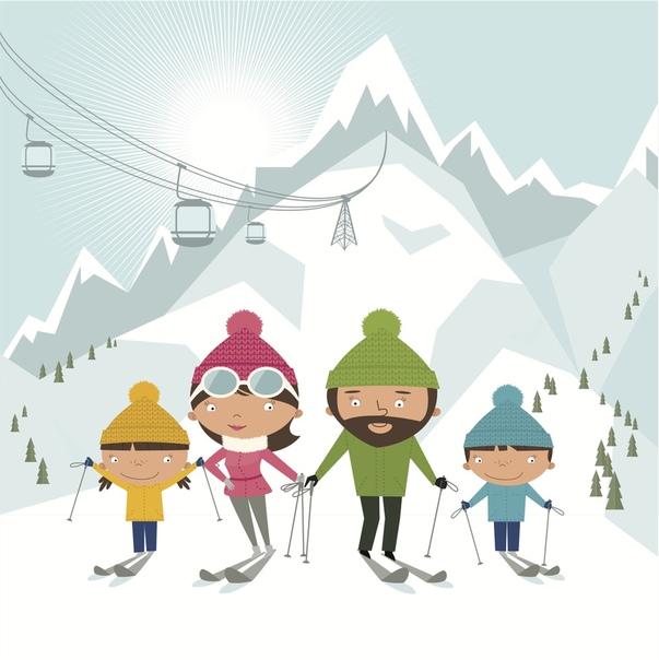 картинки моей семьи на лыжах