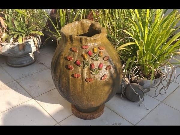 Maravilhoso vaso gigante em tecido e cimento para Jardim 1