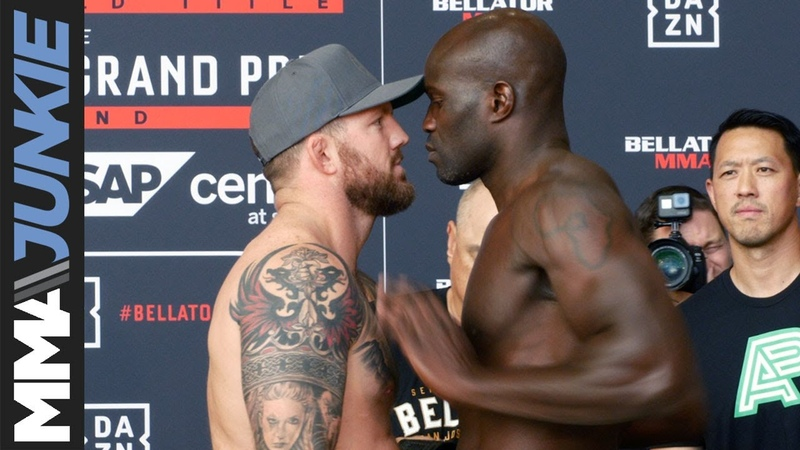 Out of character Cheick Kongo shoves Ryan Bader at Bellator 226 ceremonial weigh in