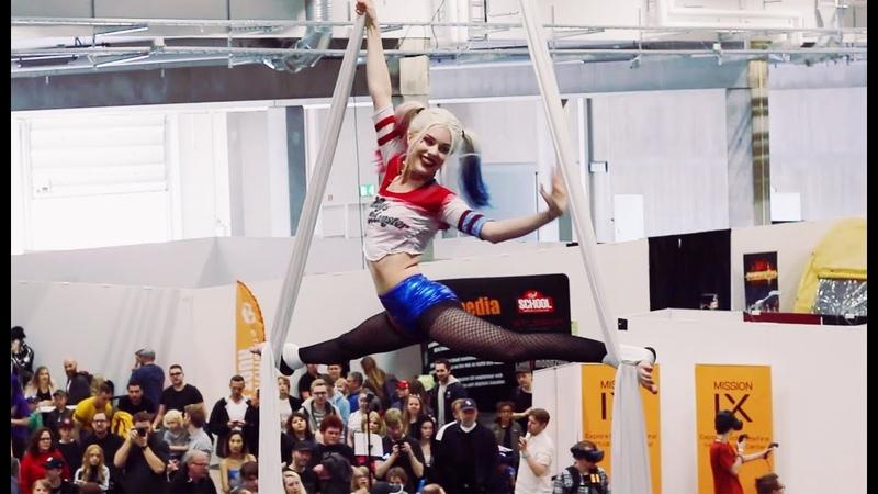 Harley Quinn Comic Con Göteborg Aerial Silks Performance VALKYRIE