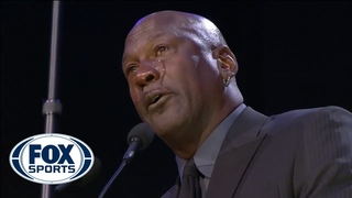 Michael Jordan gives an emotional speech at Celebration of Kobe and Gianna Bryant FOX SPORTS