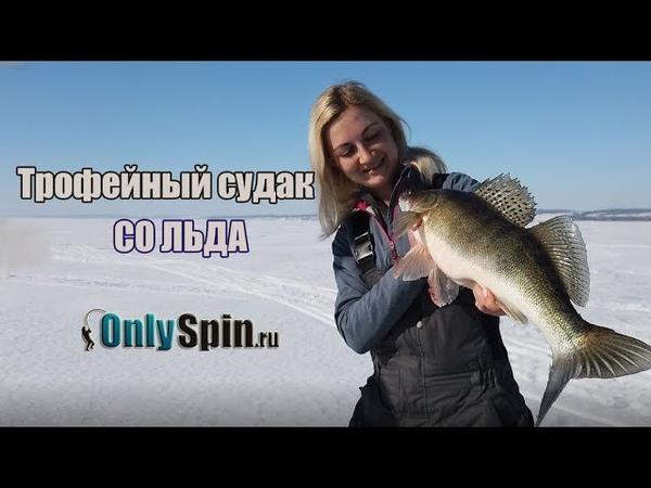 Ловля трофейного судака зимой со льда Катя Татуревич ловит OnlySpin