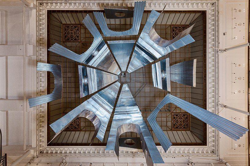 Edoardo Tresoldi Suspends mesh and metal architectural ruins within Le Bon Marché