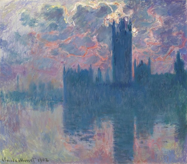 «Здание Парламента в Лондоне», Клод Моне Клод Моне создал несколько пейзажей с Британским парламентом, на которых проступают очертания одного из самых узнаваемых зданий Лондона. Солнце освещает