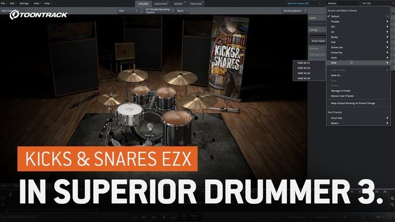 The Kicks Snares EZX in Superior Drummer 3
