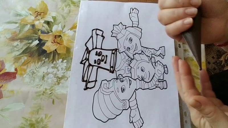Торт раскраска Фиксики Украшение БЗК кремом Cake Fixies coloring page