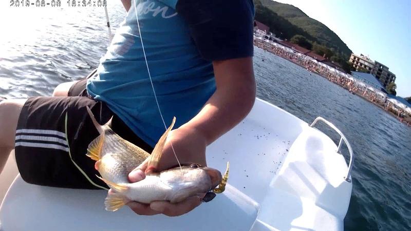 Рыбалка в Чёрном море.КОСТЯ с папой ловят на микроджиг морских карасей,зеленушек,скорпен и т.д.