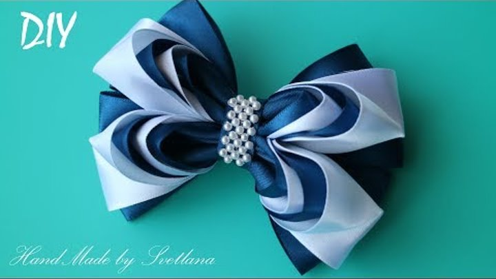 Бантики из лент ШКОЛЬНЫЕ КАНЗАШИ DIY Bows made of ribbon Kanzashi Laço de Cetim Curva da fita 9