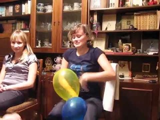 Nice Girl Quickly Nail Pops Two Bunches of Balloons