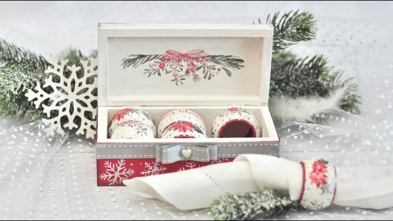 Decoupage świąteczne pierścienie stołowe - DIY tutorial