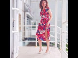 Яркое красное летнее платье для беременных и кормящих
