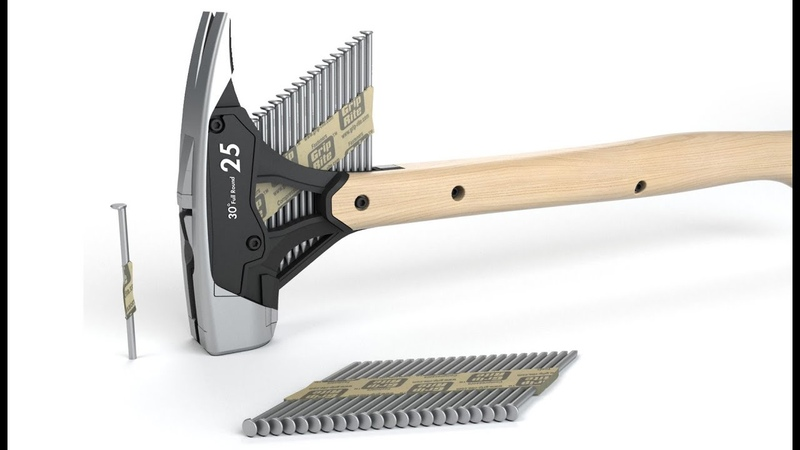 Hammer with Collated Nail Dispenser Michael Young patent pending