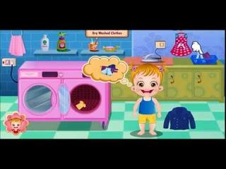 một ngày của bé, bé giặt đồ, đánh răng rửa mặt, làm đồ ăn sáng, rửa sạch chén bát, baby hazel game