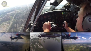 WOW! Antonov 12 BEST EVER Outboard Cam during split-screen landing in BEAUTIFUL Finland!  [AirClips]