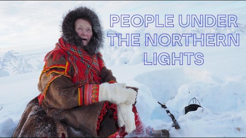 People under the northern lights | Sami reindeer herder Karen Anna