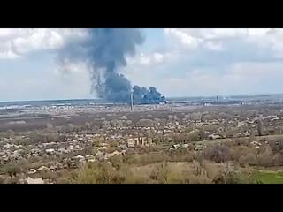 Серьёзный пожар в воинской части ВСУ на Донбассе