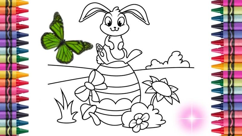Un disegno Uovo di Pasqua con coniglietto nella natura Coloriamo e disegnamo e impariamo i colori