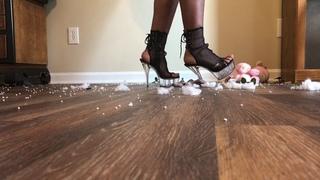 Ebony tall girl plush toy destruction in high heel platform sandals