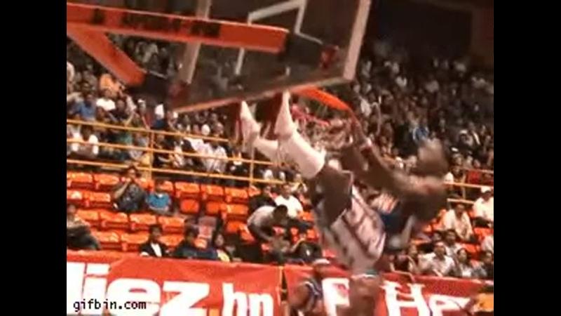 Basketball dunking gone bad