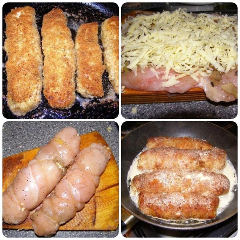 Куриные рулетики с грибами и сыром в сметанном соусе