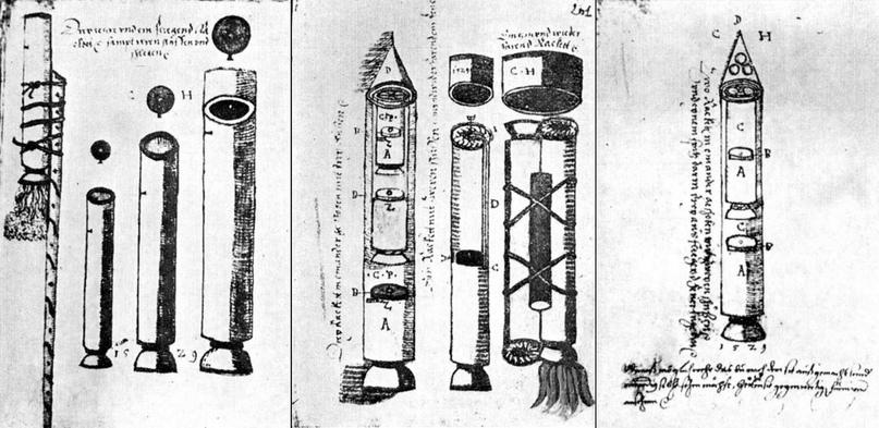 Ракеты XVI века: пилотируемые, многоступенчатые и с соплами, изображение №16