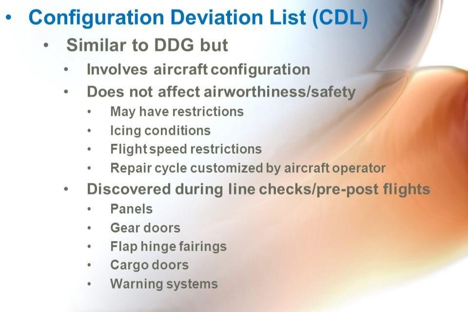 (CDL) Configuration Deviation List - Перечень отклонений от конфигурации