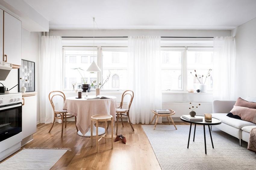 Интерьер скандинавской квартиры открытой планировки 31 кв.