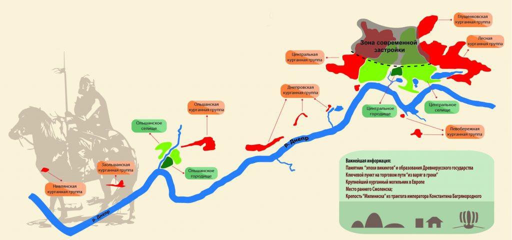 """Карта-схема археологического комплекса """"Гнёздово"""" (http://gnezdovo.com/history/geografiya/#1451149357434-e2286129-33d6)"""