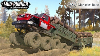Spintires: MudRunner - MERCEDES-BENZ Monster Truck Transports Forest Off-road
