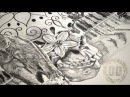 Grizzly Bear Sugar Skull Tattoo Design - Speed Drawing