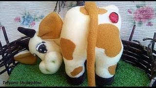 Игрушки. Супер корова. Сделать корову из ткани.Мастер класс.La Vaca que Ríe 3Ч