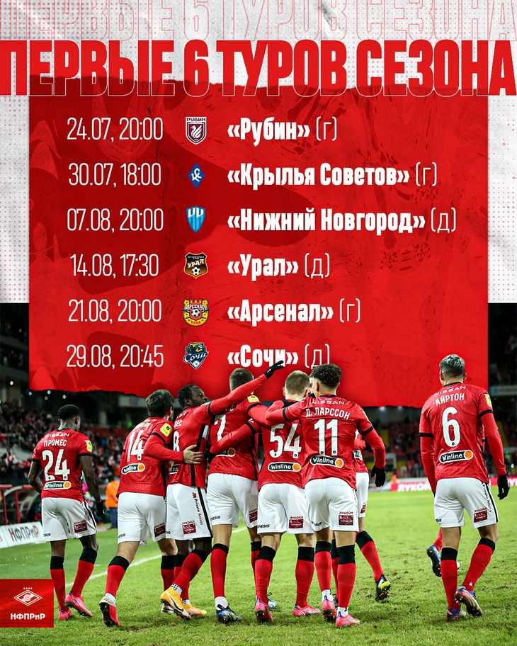 Календарь «Спартака» на первые 6 туров сезона 2021/22