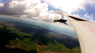 ДЕЛЬТАПЛАН В ПОЛЁТЕ (Devil's dyke hang glider takeoff in a thermal !!!)