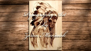 Pyrography portrait | Native American | fast motion video #1