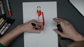 Fashion иллюстрация. Рисунок маркерами
