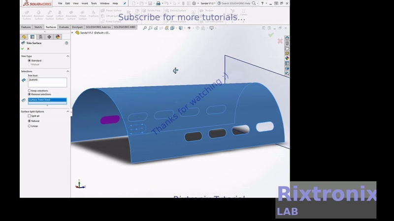 Tutorial creating sandal trim lofted surface solidworks