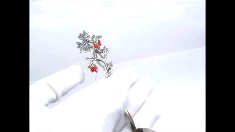 Серебряная ложка чайная Рябина Красная серебро 925 Коралл красный Ag 925 101 01 334