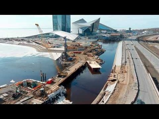 Строительство эстакад возле небоскрёба Лахта Центр, март 2021